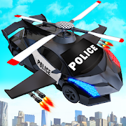 Flying Police Helicopter Car Transform Robot Games 30